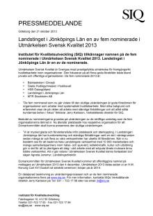 Landstinget i Jönköpings Län en av fem nominerade i Utmärkelsen Svensk Kvalitet 2013