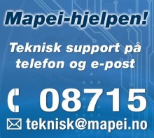 Tekniske spørsmål? Ring Mapei-hjelpen på 08715!