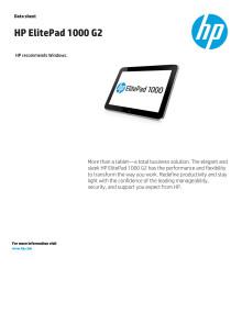 HP Elitepad 1000 datasheet