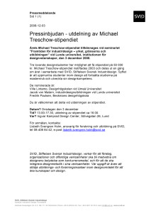 Pressinbjudan - utdelning av Michael Treschow-stipendiet