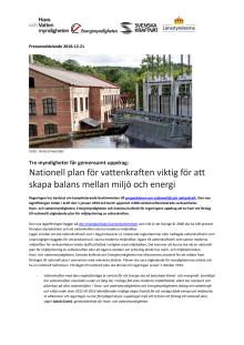 Tre myndigheter får gemensamt uppdrag: Nationell plan för vattenkraften viktig för att skapa balans mellan miljö och energi