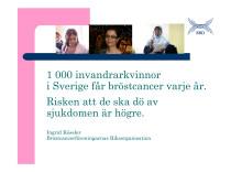 1 000 invandrarkvinnor i Sverige får bröstcancer – risken att de ska dö av sin sjukdom är högre