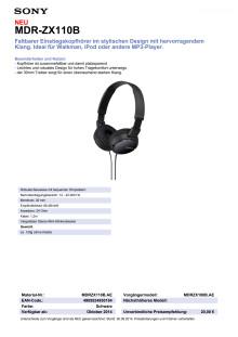 Datenblatt MDR-ZX110B von Sony