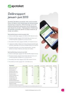 Apotekets delårsrapport: januari - juni 2013