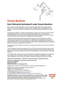 Svensk Musikvår presenterar Karin Rehnqvist