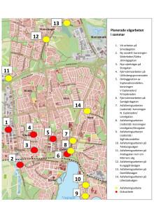 Karta över vägarbeten i Växjö stad.