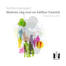 """Program 10 september """"Malmös väg mot en hållbar framtid"""""""