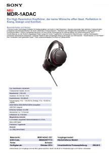Datenblatt MDR-1ADAC von Sony
