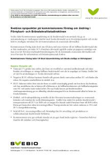 Svebios synpunkter på kommissionens förslag om ändring i Förnybart- och Bränslekvalitetsdirektiven
