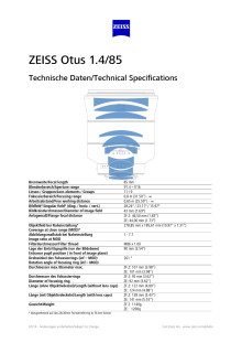 Zeiss Otus 85mm F/1,4 datablad