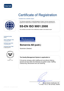 Certificate of Registration ISO 9001:2008 Bemannia AB