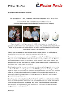Fischer Panda UK's Neo Generator Duo Voted BMEEA Product of the Year