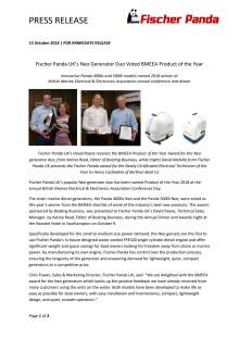 Fischer Panda UK's Neo Generator Duo Voted BMEEA Product of the Year