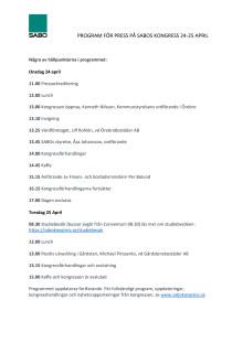 Program för press på SABOs kongress 2019