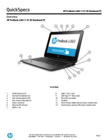 Spesifikasjoner for HP ProBook x360 11 EE