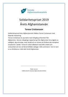 190526 Solidaritetspriset 2019 diplom