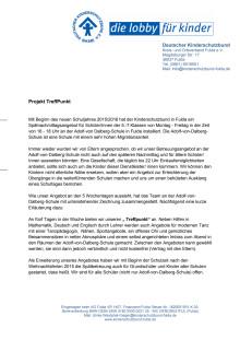"""Deutscher Kinderschutzbund Kreis- und Ortsverband Fulda e.V.: Projekt """"TreffPunkt"""""""