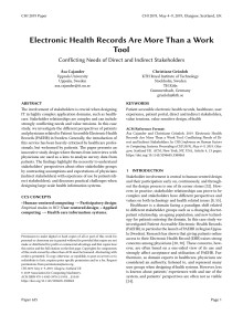 Electronic Health Records Are More Than a Work Tool: Conflicting Needs of Direct and Indirect Stakeholders
