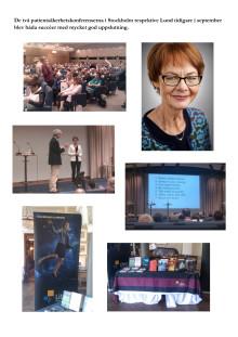 Bilder från patientsäkerhetskonferenserna i Stockholm och Lund, september 2013