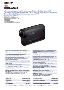 Datenblatt HDR-AS20 von Sony