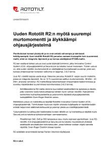 Uuden Rototilt R2:n myötä suurempi murtomomentti ja älykkäämpi ohjausjärjestelmä