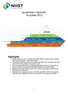 QUARTERLY REPORT 1st quarter 2012