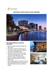Pan Pacific Hotels Group Latest Openings