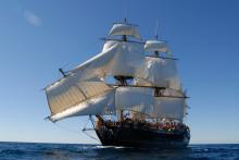Ostindiefararen är med och firar Volvo Ocean Race