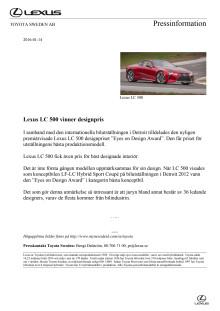 Lexus LC 500 vinner designpris