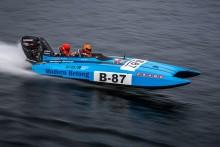 Sveriges snabbaste tjej på vatten, Veronica Olderin, flaggskepp på båtmässorna i Göteborg och Stockholm.