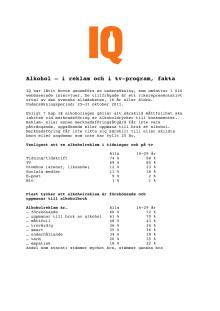 Undersökning: Alkohol i reklam och tv-program, fakta