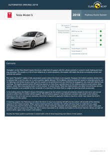 Automated Driving 2018 - Tesla Model S datasheet - October 2018