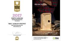 """Hedersomnämnande för årets annons på Guldvargen 2017 """"BKE - SOM ETT PROFFS"""""""