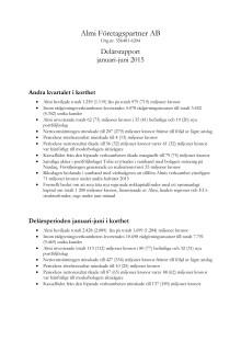 Delårsrapport för januari-juni 2015