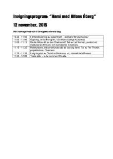 Dagens program: Kemi med Alfons Åberg 12 november, 2015