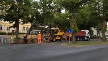 Trafik i centrala Karlshamn dirigeras om efter sprucken vattenledning