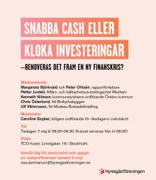 Rapportsläpp: Snabba cash eller långsiktiga investeringar? -Renoveras det fram en ny finanskris?