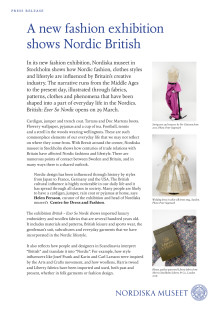 Press kit: British – ever so Nordic, fashion exhibition at Nordiska museet, Stockholm
