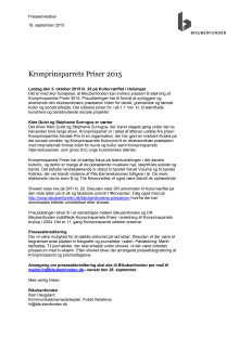 Presseinvitation Kronprinsparrets Priser 2015