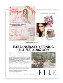Pressmeddelande: ELLE lanserar ny tidning: ELLE fest och bröllop!
