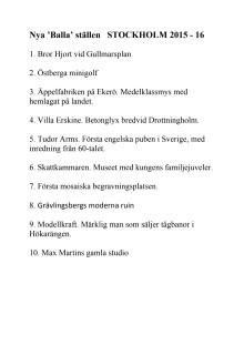 Nya Balla ställen i Stockholm. Inkluderade i nyutgåvan av boken 100 Balla ställen i Stockholm som ges ut 13 april 2015