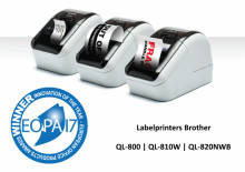 "Brother QL-800-labelprinters winnaars van EOPA Awards 2017 ""Innovation of the Year"""