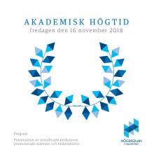 Program och presentation av professorer och doktorer – akademisk högtid 2018