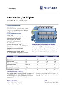 Faktaark B36:45 gassmotor fra Rolls-Royce Marine