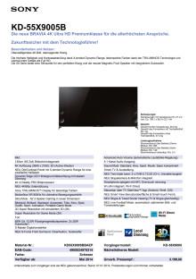 Datenblatt BRAVIA KD-55X9005B von Sony