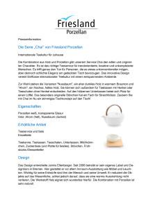 """Presseinformation: Die Serie """"Chai"""" von Friesland Porzellan - Internationale Teekultur für zuhause"""