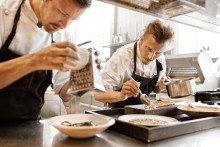 Fotografiskas food creator Paul Svensson cooking with Dan Barber in London