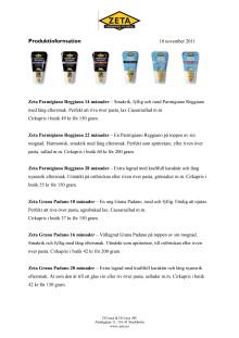 Zeta Parmigiano Reggiano och Grana Padano - produktblad