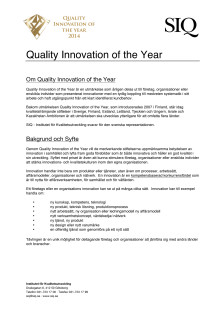 Quality Innovation of the year 2014