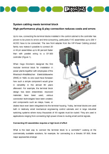 System cabling meets terminal block- High-performance plug & play connection reduces costs and errors